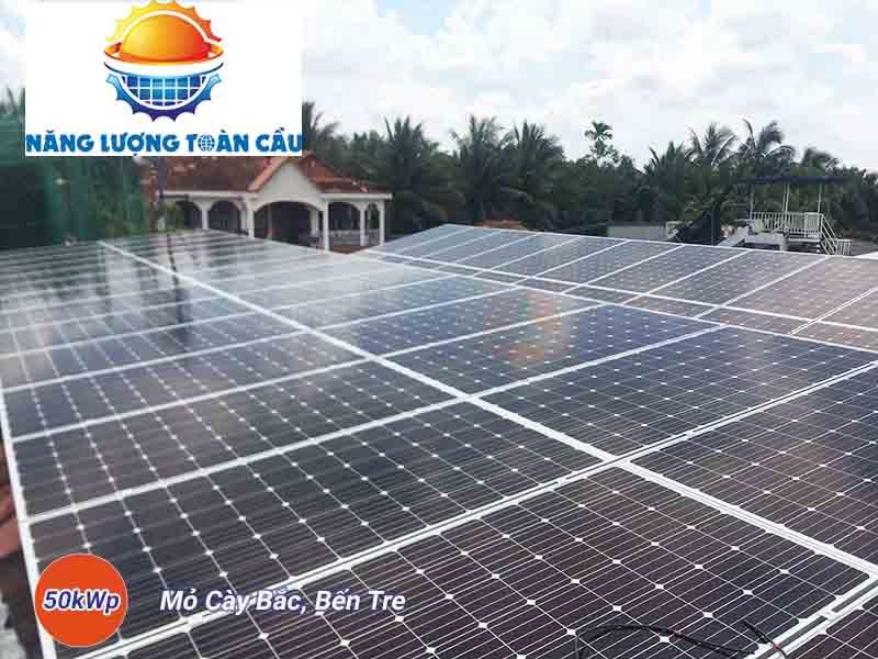 hệ thống điện mặt trời hòa lưới 50kw tại Bến Tre