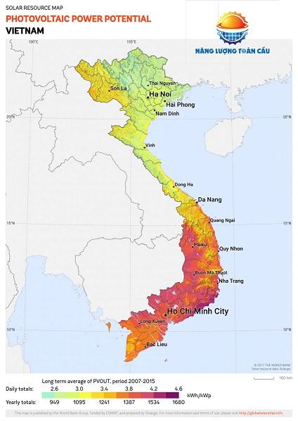 bản đồ bức xạ nhiệt ở việt nam